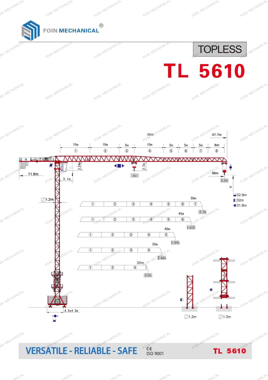 catalogue danh mục của cẩu tháp dầu bằng TL5610-6 Tấn