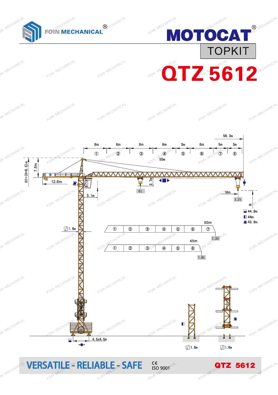 catalogue danh mục của cẩu tháp dầu chóp TK5612-6 Tấn