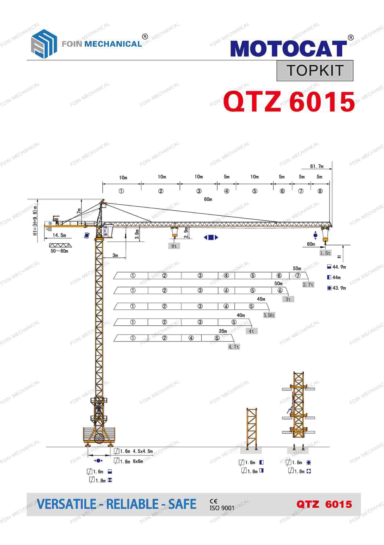 catalogue danh mục của cẩu tháp dầu chóp TK6015-8 Tấn