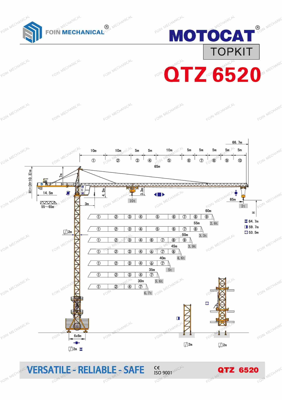 catalogue danh mục của cẩu tháp dầu chóp TK6520-10 Tấn